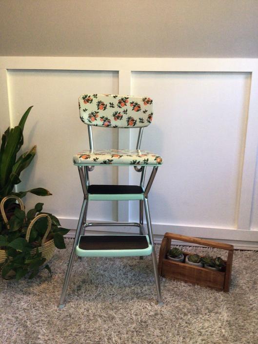 Vintage Restored Cosco Stepping Stool, flip up seat Stool step Chrome light blue with laminate seat kitchen step ladder Oranges Vintage by VintageCoreReStore