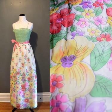 70s Vintage Dress | Green Dress | Bridesmaid Dress | Floral Print Dress | Maxi Dress | Boho Dress Hippie | XSmall Dress XS | Size 4 Dress by aphroditesvintage