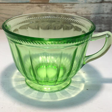 Clear Green  Depression Glass Cup by JoyfulHeartReclaimed