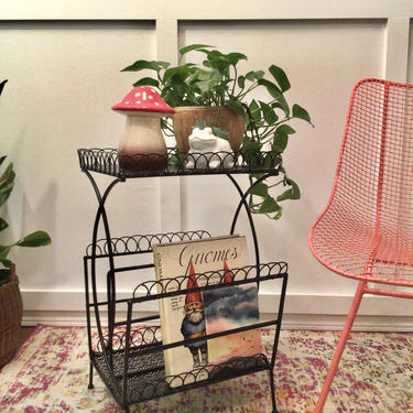 magazine rack table | 1950s Mid century vintage steel   record stand storage | telephone stand | mesh wrought iron wireworks by VintageCoreReStore