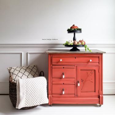 SOLD - Antique Washstand Dresser Drysink - Painted Furniture by AminiDesignAshburn