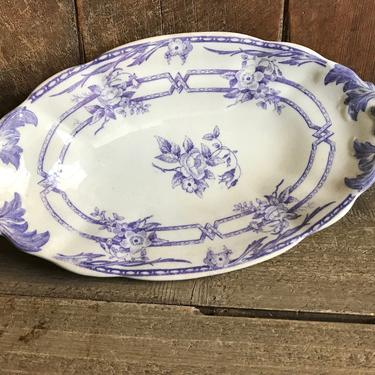 1800s French Serving Dish, Ceres Sarreguemines, Lavender Floral Design, Transferware Dish, Ironstone, French Farmhouse Farm Table Cuisine by JansVintageStuff