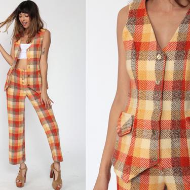 70s Two Piece Suit Plaid TROUSERS + WAISTCOAT Set Plaid Pants Bell Bottom Outfit 1970s Vest Top Orange Secretary Office Vintage Small by ShopExile