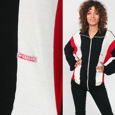 McGregor Track Jacket Zip Up Sweatshirt Black Striped Jacket 80s Sport Red Sweatshirt Retro Vintage Tracksuit Stranger Things Small Medium by ShopExile