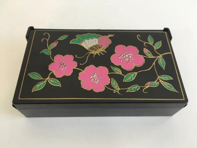 Vintage Jewelry Box Plastic Folding Mirror Earring Ring Case Vintage Butterflies Flowers Floral Black Retro Necklace Storage by CheckEngineVintage