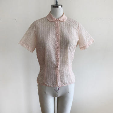 Pale Pink Seersucker Blouse with Peter Pan Collar and Rhinestone Buttons - 1950s by LogansClothing