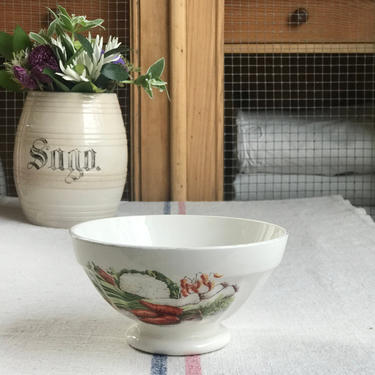 Beautiful old French cafe au lait bowl with lovely graphic by Grainsacfrenchvintag