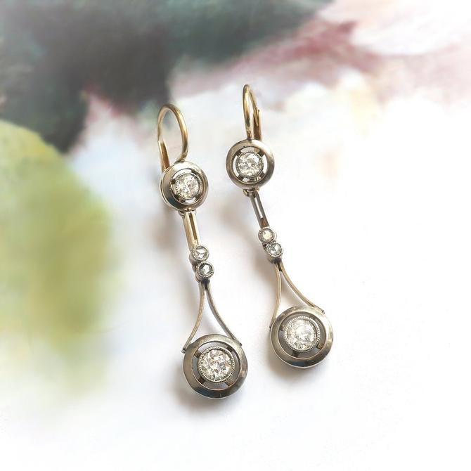 Antique Edwardian .78ctw. Diamond Drop Earrings 18k Platinum by YourJewelryFinder