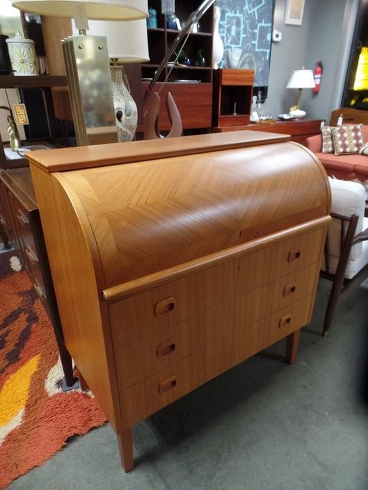 Danish Modern teak roll top desk