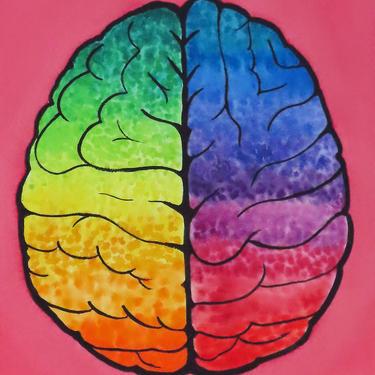 Full Spectrum Brain  -  original watercolor painting - neuroscience art by artologica