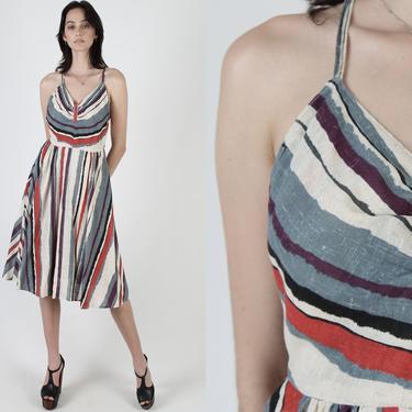 80s Linen Striped Dress / Ivory Criss-Cross Open Back / Sexy Spaghetti Strap Design / Fun Casual Summer Full Skirt Sun Midi Mini Dress by americanarchive