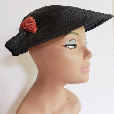 1950s Navy Blue Straw Saucer Hat Orange Pleated Applique / 50s Space Age Summer Cocktail hat Platter Avant Garde / Benoite by RareJuleVintage