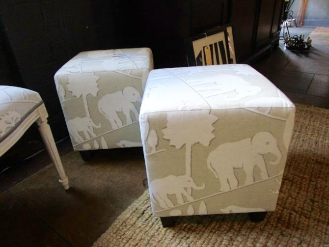 PAIR PRICED SEPARATELY OTTOMANS WITH ELEPHANT PRINT
