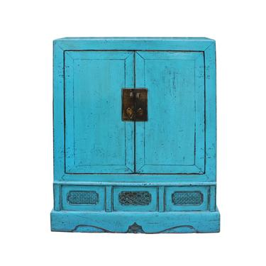 Chinese Distressed Rustic Turquoise Aqua Blue Foyer Console Table Cabinet cs5080E by GoldenLotusAntiques