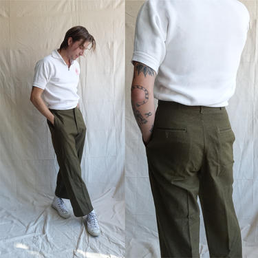 Vintage 40s Field Trousers/ 1940s Wool Army Pants/ Drab Green Button Fly High Waisted Pants/ Size 29 29 by bottleofbread