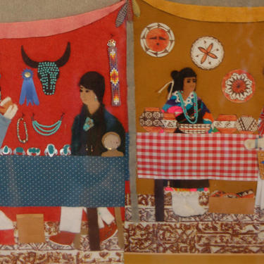 "Fabulous Folk Art fabric applique Painting by New Mexico Artist Sylvia Martinez - Johnson "" Indian Market"" 1987 ~ Wonderful Detail by YesterdayAndTomorrow"