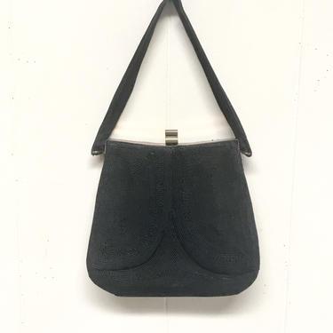 Vintage 1940s Black Genuine Cordé Handbag, 40s Top Handle Purse, Rayon Art Deco Style with Brass Hardware by RanchQueenVintage
