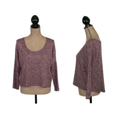 Y2K Thin Knit Space Dye Metallic Sweater, Cropped Scoop Neck High Low Top, Purple Pullover Shirt, 2000s Clothes Women Large from Delia's by MagpieandOtis