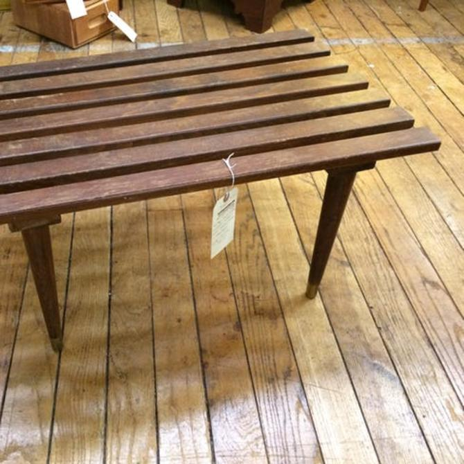 Vintage mid century walnut slat bench