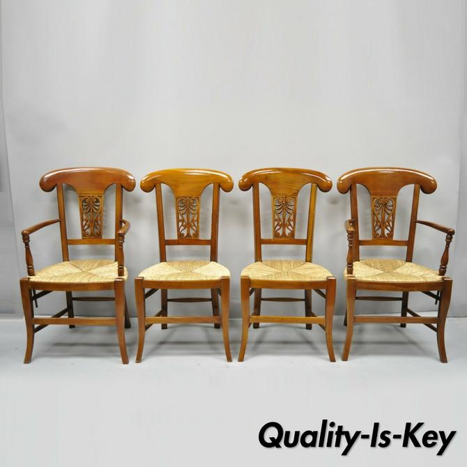 Set of 4 Country French Provincial Carved Cherry Wood Rush Seat Dining Chairs