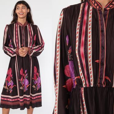 Floral Dress Midi Boho High Waisted Slouchy 70s 80s KNIFE PLEATED Blouson Secretary Purple Vintage Long Sleeve Bohemian Extra Large xl by ShopExile