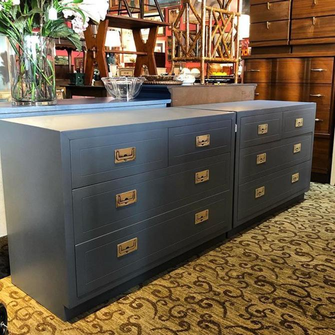 """Pair of grey campaign style chests! 40"""" long, 18"""" deep, 28"""" tall."""