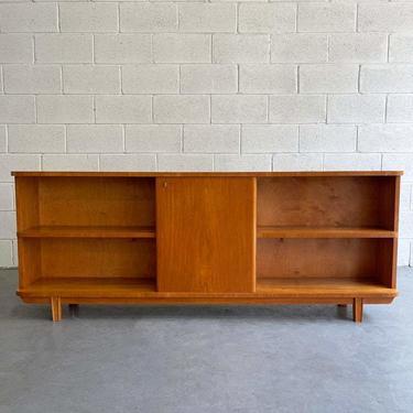 Mid Century Modern Satinwood Bookcase Cabinet