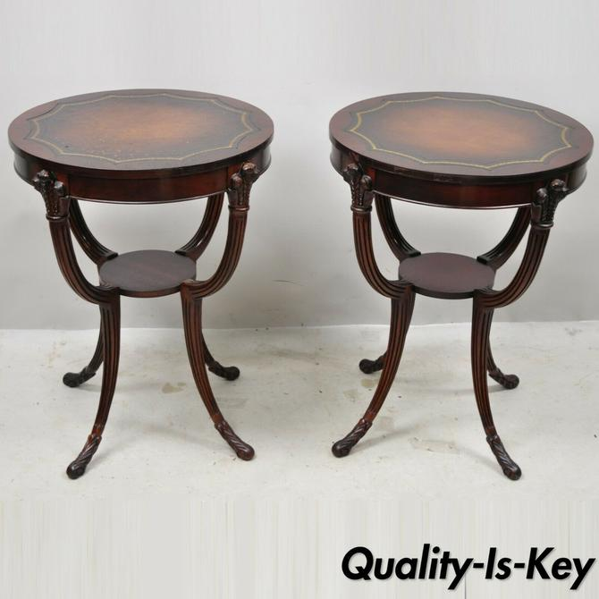 French Hollywood Regency Grosfeld House Plume Carved Leather End Tables - a Pair