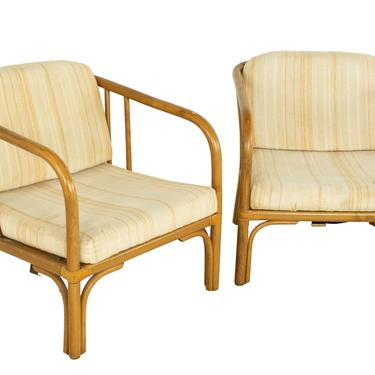 Franco Albini Style Mid Century Italian Rattan Lounge Chairs - Pair - mcm by ModernHill