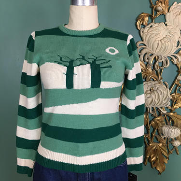 1970s sweater, novelty print sweater, green striped sweater, vintage 70s sweater, size small, Tami, 32 34 bust, cropped fitted sweater, knit by BlackLabelVintageWA