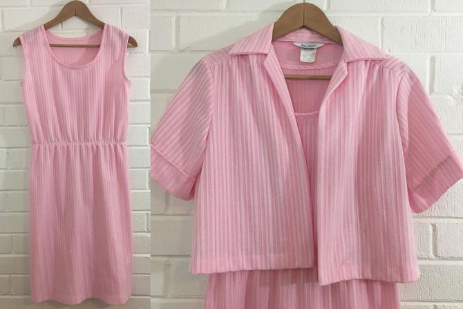 Vintage Mod Shift Dress Matching Jacket 60s Powder Pink White Blair Knit 1960s Summer Sleeveless Short Sleeve Twiggy Women's Small Medium by CheckEngineVintage