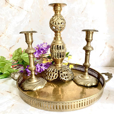 Vintage Brass Tray, Cut Out, Ornate Handles, Round, Home Decor, Entry Way, Sustainable Living, Vintage 70s by GabAboutVintage