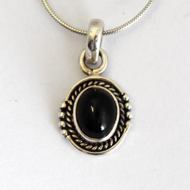 Edgy 70's sterling cat's eye Southwestern pendant, handsome little BLJ artisan made black scapolite 925 silver snake chain necklace by BetseysBeauties