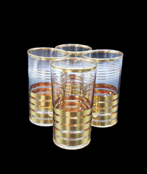 FREE SHIPPING! Vintage Crystal & Gold Striped Highball Glasses | Set of 4 Clear Glass Tumblers | MCM Glassware Drinkware Barware by SavageCactusCo