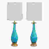 Seguso Pair of Exceptional Handblown Table Lamps in Deep Aqua Glass 1950s - SOLD