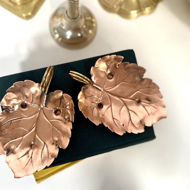 Vintage Copper and Brass Leaf Dishes - Leaf Shaped Trinket Dish/Tray by TheBrassFig