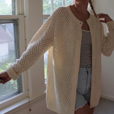 Vintage Open Weave Off White Long Sweater Knit Cardigan by NeonSkyVintageMN
