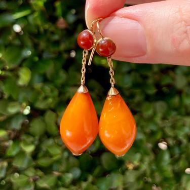 Antique Edwardian Era 14K Yellow Gold Butterscotch & Cherry Amber Drop Earrings by templeofvintage