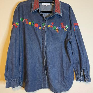 2) vintage westbound casual large embroidered holiday denim long sleeve button down shirt by GRACEandCATS