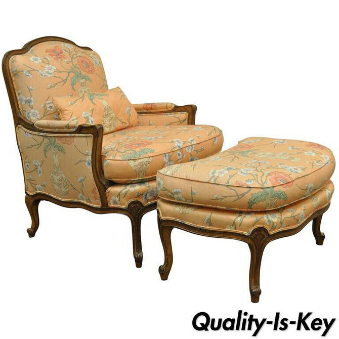 French Provincial Louis XV Style Shell Carved Bergere Arm Chair and Ottoman