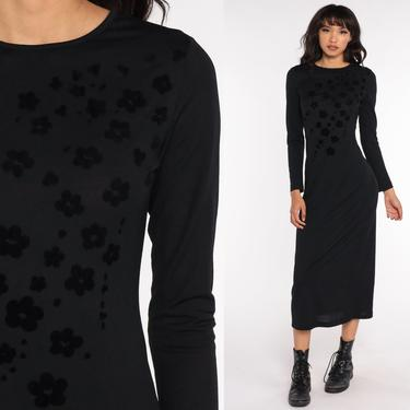 Black Sheath Dress 90s Midi Floral Cocktail Party Boho Dress Clinging Bohemian 1990s Vintage Long Sleeve Small S by ShopExile