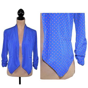 Open Crop Jacket, Small Blazer Women, Vintage Royal Blue with Orange Polka Dots, 3/4 Sleeve Lightweight Pointed Hem, by MagpieandOtis