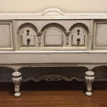 Sideboard/ Buffet 1920's Weathered White and Gray -  Farmhouse Style - French County by FrenchTwistAntiques