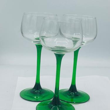 Lovely Vintage (3) Cristal D'Arques Durand Luminarc Green Stem Rhine Wine Glasses Arcoroc France 5 ounce by JoAnntiques