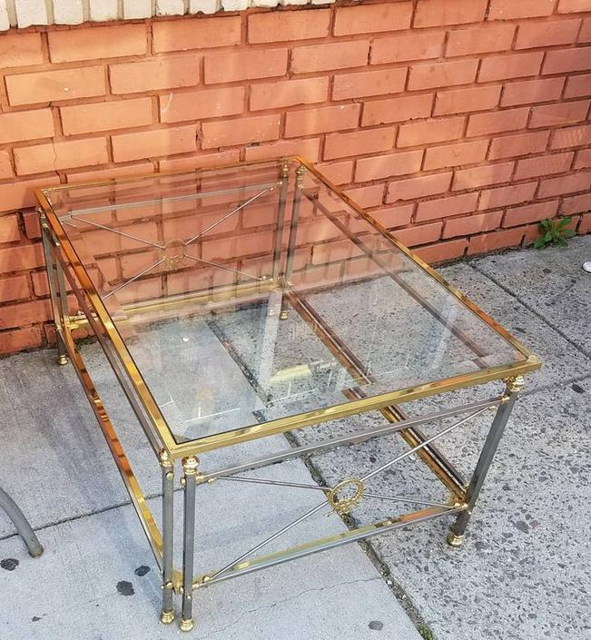 Brass Glass Topped Cocktail Table, $235.