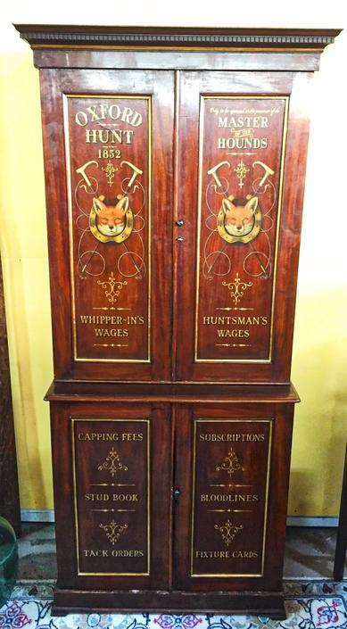 Antique English Equestrian Hunt Locker Cabinet