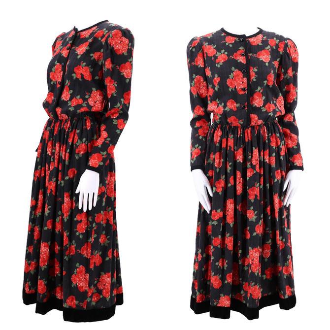 70s YSL Yves Saint Laurent rose print peasant dress 8 / vintage 1970s wool challis velvet trim puff shoulder 80s dress 38 8 by ritualvintage