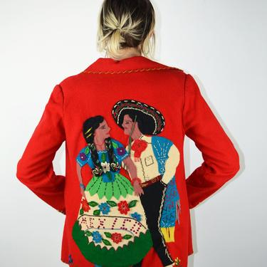 Vintage 40s Mexican Souvenir Jacket / Vintage Mexican Embroidered Wool Jacket / 40s Jacket /Shoulder Pads / Pin Up Pinup / VLV/ Small Medium by ErraticStaticVintage