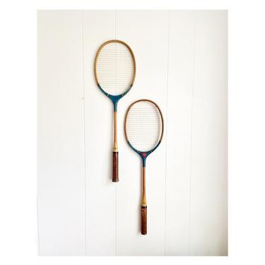 Pair of Vintage Blue Badminton Rackets, Sears Roebuck and Co. JG Higgins Mohawk Brand, Wall Decor Sports Bar Game Room by BlackcurrantPreserve