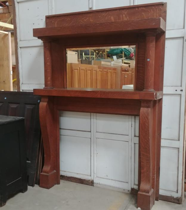 Vintage Solid Oak Wood Mantel